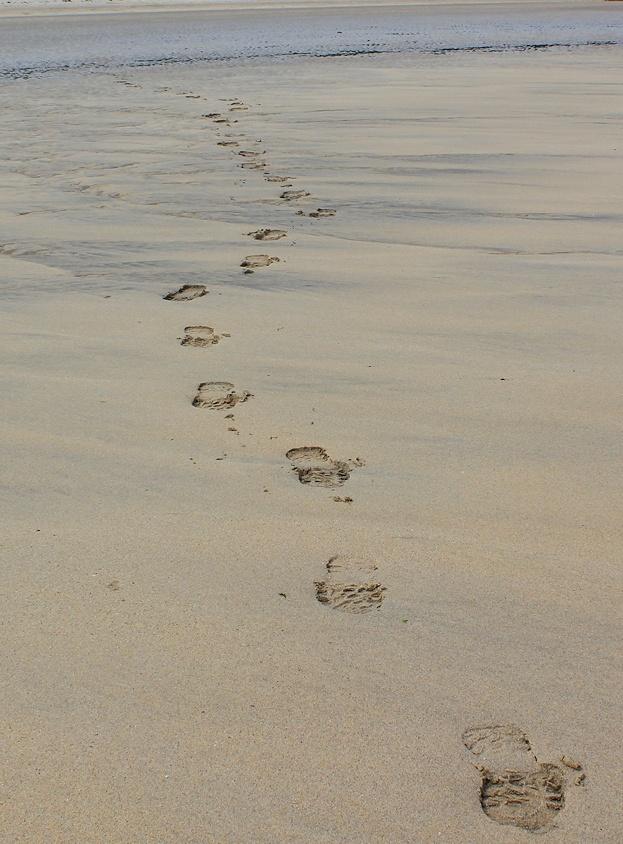 footsteps on sand, Hayle, Ruth walking around Cornwall