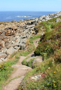 path flattish, Ruth on SWCP in Cornwall
