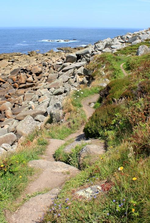 path flattish, Ruth on SWCP in Cornwall
