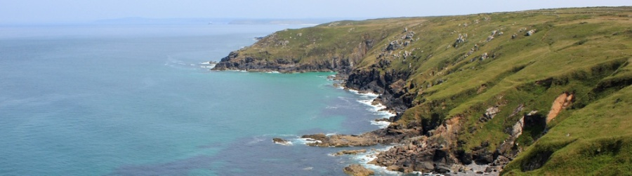view from Trevega Cliff, towards St Ives, Ruth on the SWCP