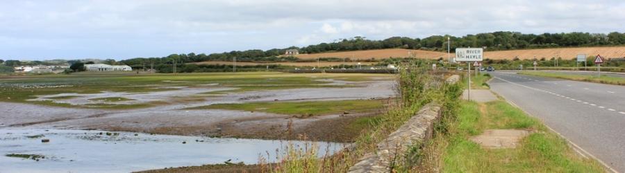 Causeway over River Hayle, Ruth on coastal walk around Cornwall