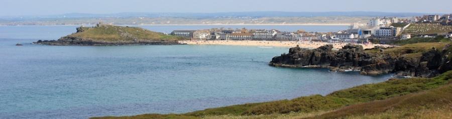 St Ives, Porthmeor Beach, Ruth walking the South West Coast Path