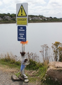 Danger Signs, East Quay, Hayle, Ruth walking around the coast