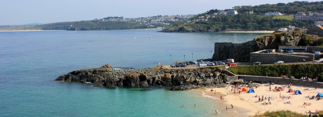 St Ives Head, Ruth walking the South West Coast Path
