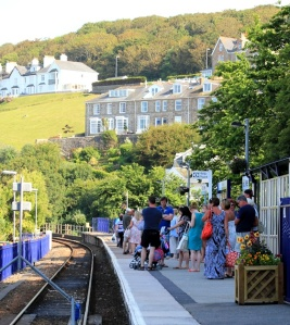 St Ives railway station, Ruth walking the coast, Cornwall