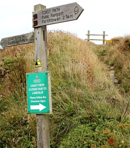Path closed signs, Portreath, Ruths coast walk
