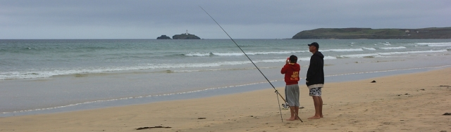 fishing in front of Godrevy Island, Ruth on Hayle Towans beach