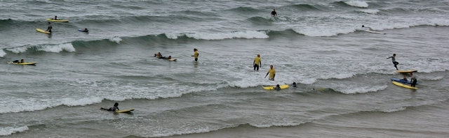 surf school on beach, Cornwall, Ruth walking the SWCP