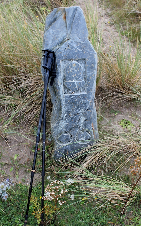 lovely path markers, Gwithian beach, Ruth on her coastal walk, Cornwall