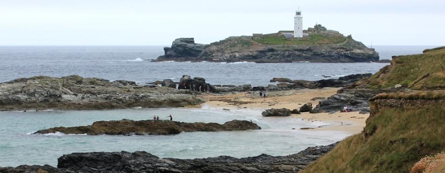 Godrevy Rocks, Ruth walking the Cornish Coast