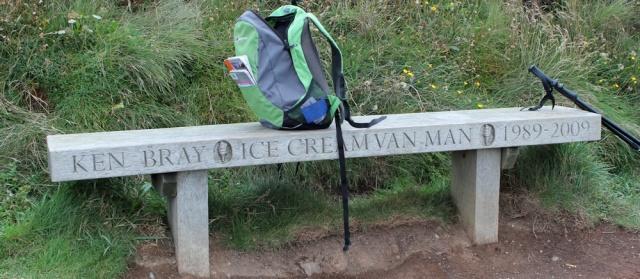 Ice cream man memorial bench, Ruth coastal walking