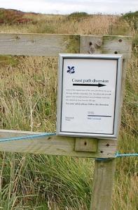 Path diversion sign, Ruth's coastal walk