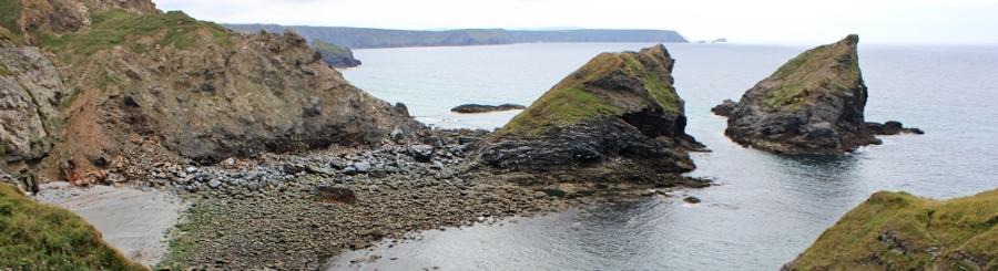 Samphire Island, Godrevy behind, Ruth walking Cornwall