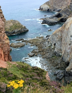 looking down on secret coves, Ruth on SWCP, St Agnes