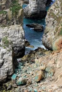 Blue rocks, Ruth walking in Cornwall