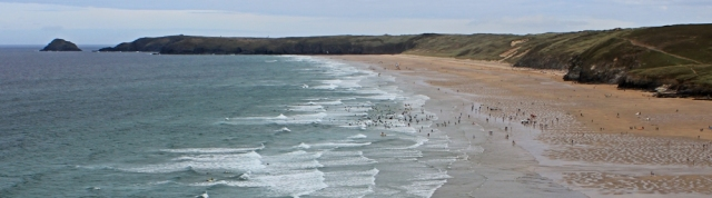 Perran Beach sand, Ruth walking on the South West Coast Path
