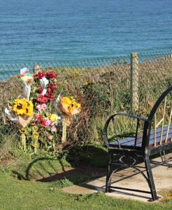 memorial flowers, Newquay, Ruth walking the SWCP
