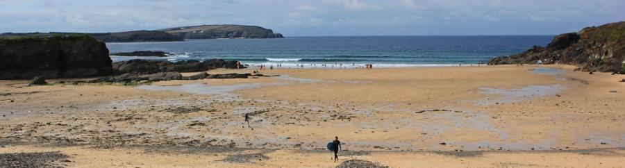 Trevone Beach, Ruth on her coastal walk