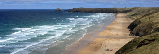 look ahead along Perran Beach, Ruth's coastal walking