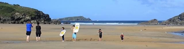Porth Beach, Ruth on her coastal walk