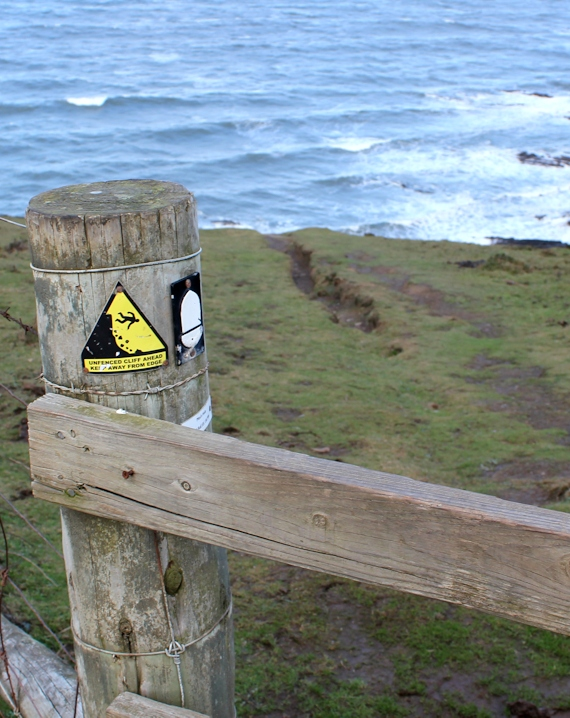 path plunges over cliffs, Ruth on the SWCP