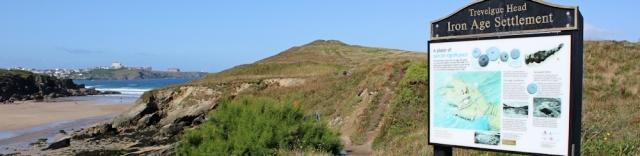 Trevelgue Head Iron Age Settlement, Ruth walking the coast, Cornwall