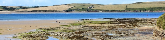 across Doom Bar to Harbour Cove, Padstow, Ruth walkling the SWCP