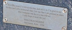non-memorial plaque on chair, Ruth's walk