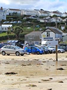 Polzeath beach car park and cafe, Ruth's coast walk