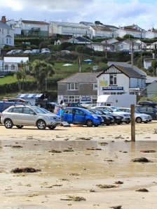 Polzeath beach car park and cafe, Ruth's coast walk