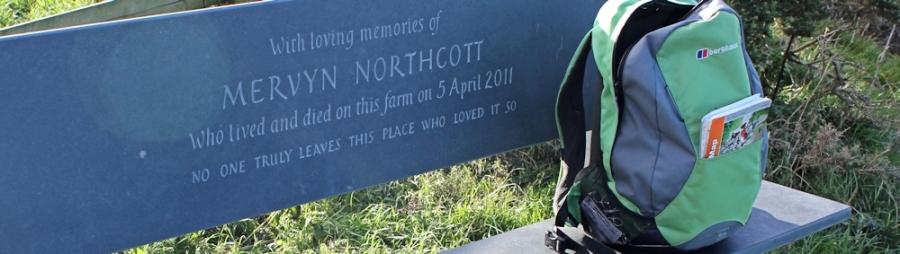 Slate bench to Mervyn Northcott, SWCP, Dizzard, Cornwall