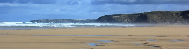 across the sands of Watergate Bay, Ruth in Cornwall