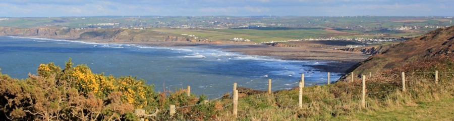 looking down on Widemouth Sands, Bude, SWCP, Ruth's coast walk