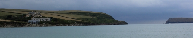 darkening skies, Padstow, Ruth walking the UK coast