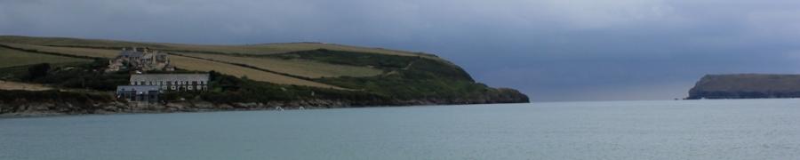 darkening skies, Padstow, Ruth walking the UK coast