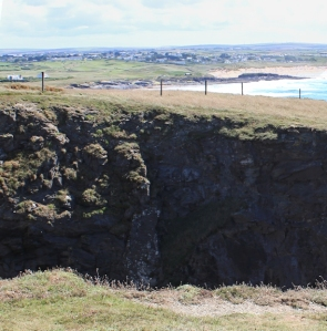 Round Hole, Ruth on coastal walk, SWCP, Cornwall