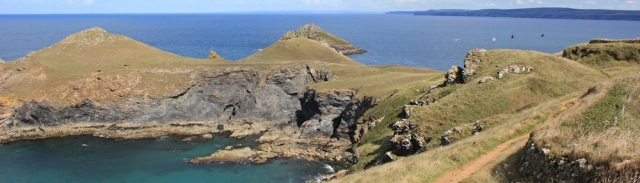 The Rumps Fort, Ruth walking SWCP, Cornwall