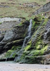 waterfall, Tintagel, Ruth walking the SWCP Cornwall