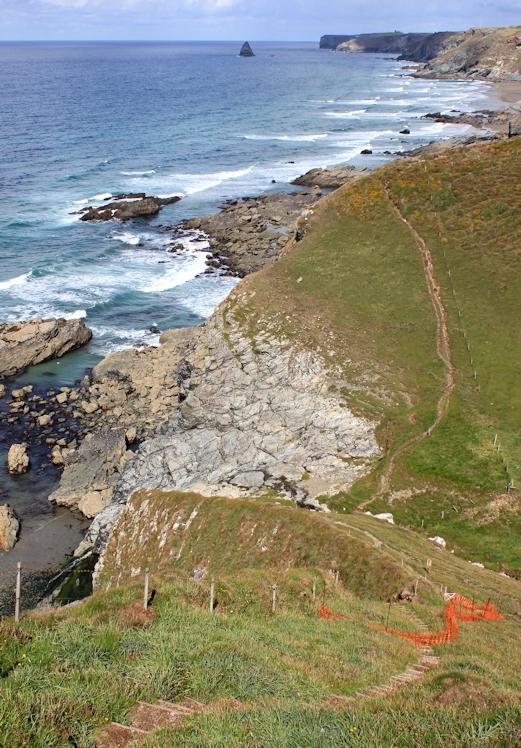 more ups and downs, towards Trebarwith Strand, Ruth's coast walking