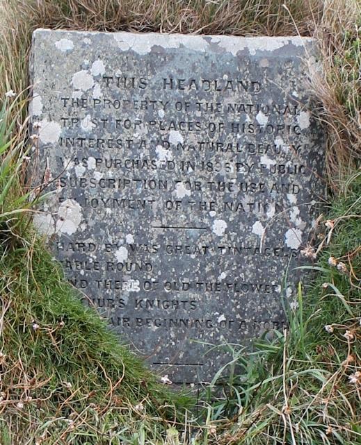 National Trust stone, Tintagel, Ruth's round the coast walk
