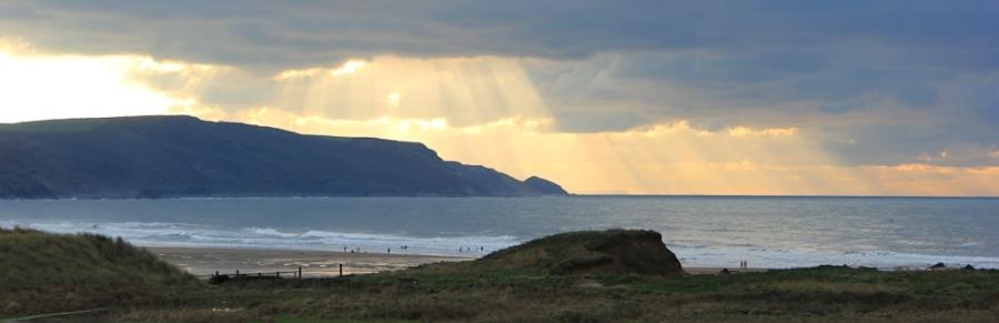 sun setting over Widemouth Sand, Cornwall, Ruth's coast walk