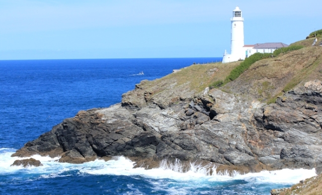 Trevose Head lighthouse, Ruth walking the coast