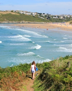 towards Crantock Beach, Ruth on her coastal walk, Newquay
