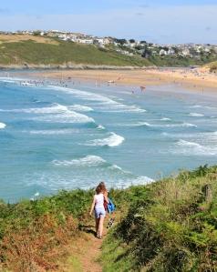 towards Crantock Beach, Ruth on her coastal walk, Newquay
