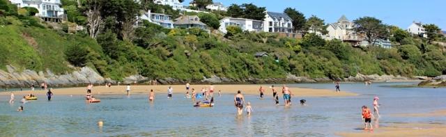 Crantock Beach, Ruth on her coastal walk, Newquay