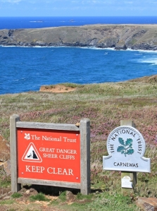 Carnewas Cliffs, warning sign, Ruth's coast walking
