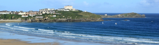 Newquay, Cornwall, Ruth walking the SWCP