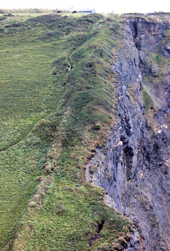 Down to the Pentargon Waterfall, Ruth walking the SWCP, Cornwall