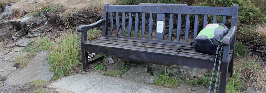 Paul Heard's bench, Ruth's coastal walk on Beeny Cliff