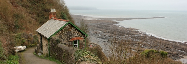 Buck's Mill, Blackchurch rock in distance, Ruth on SWCP